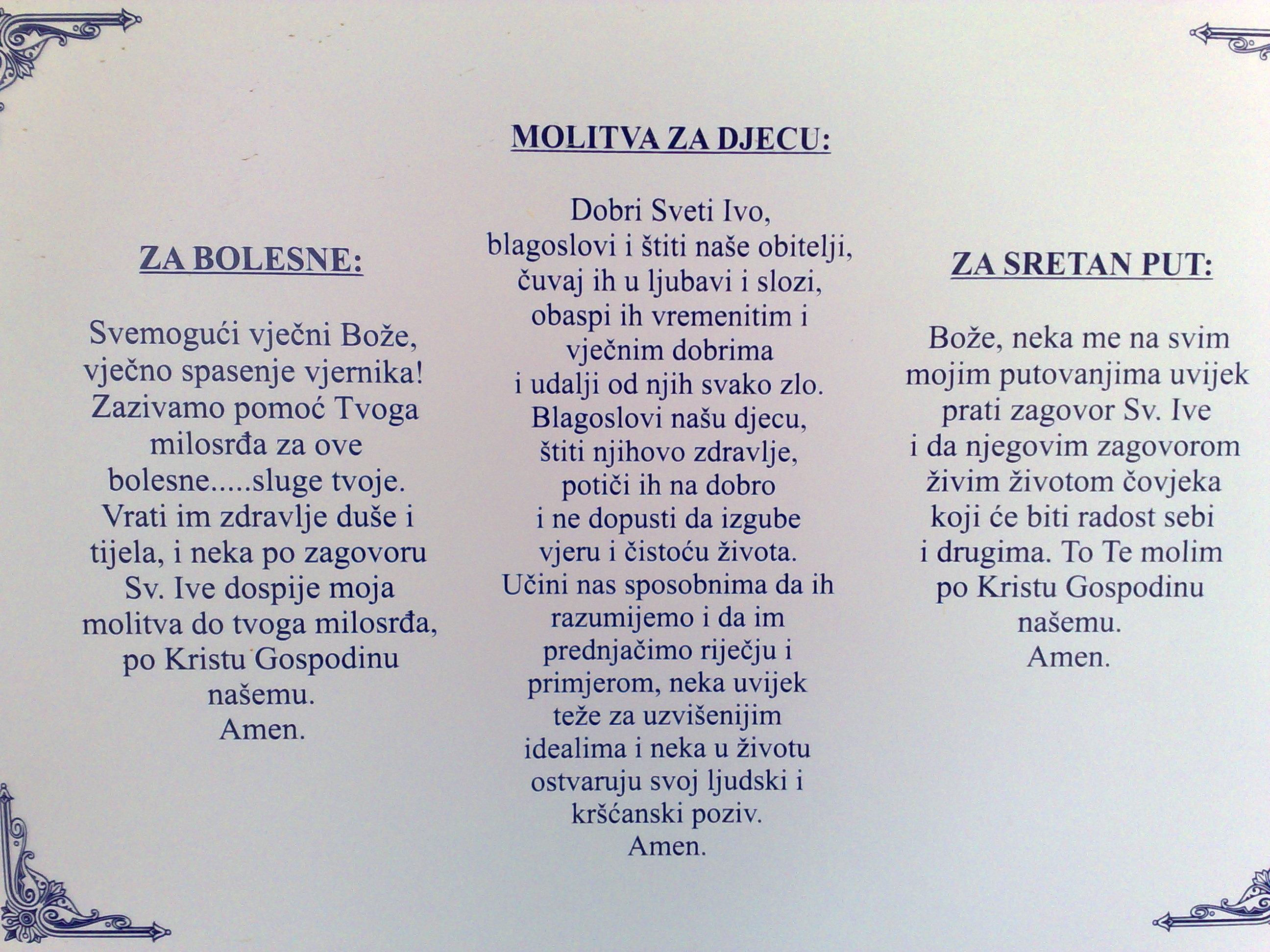 Molitve Sv. Ivi