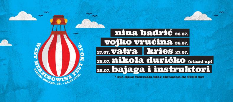 16. WH fest: dolaze Nina, Bajaga i Vojko V.
